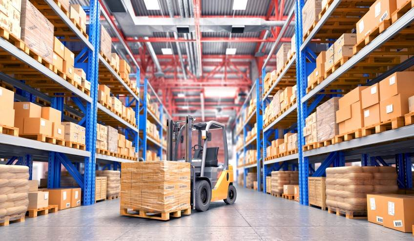 Inventory and fork lift in a distribution center